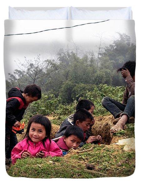 Children At Play - Sapa, Vietnam Duvet Cover