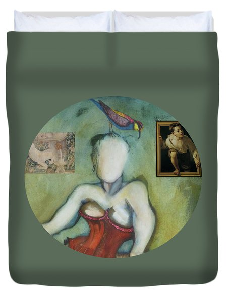 Chin Chin With An Imaginary Bird On Her Head Duvet Cover