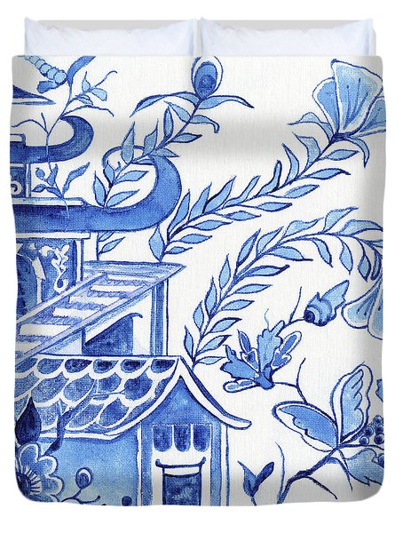 Chinoiserie Blue And White Pagoda Floral 1 Duvet Cover