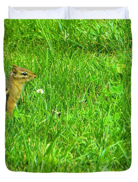 Chipmunk And The Flower Duvet Cover