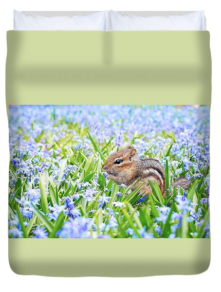 Chipmunk On Flowers Duvet Cover