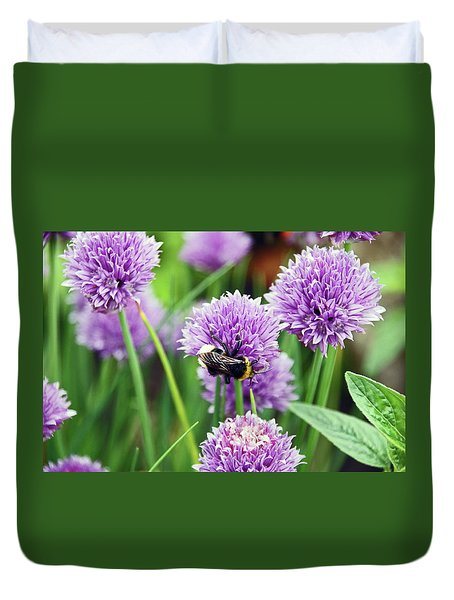 Chorley. Picnic In The Park. Bee In The Chives. Duvet Cover