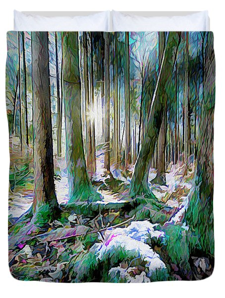 Duvet Cover featuring the digital art Chorus Of Trees by Edmund Nagele