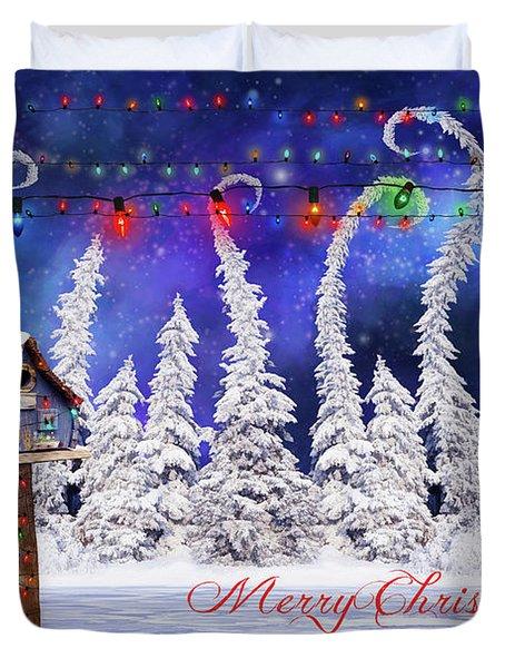 Christmas Card With Bird House Duvet Cover