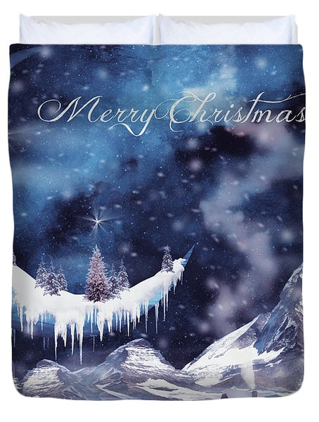 Christmas Card With Frozen Moon Duvet Cover