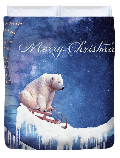 Christmas Card With Moon And Bear Duvet Cover