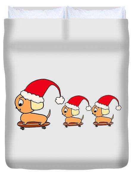 Christmas Dogs On Skateboards Duvet Cover