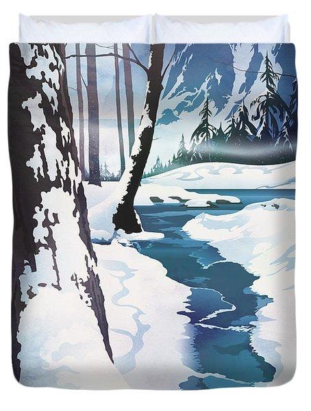 Morning At Christmas Creek Duvet Cover