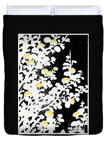 Chrysanthemum Flowers In White And Yellow Duvet Cover