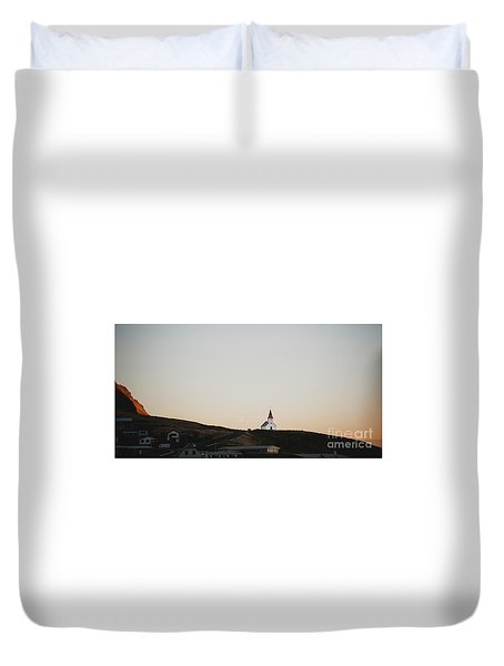 Church On Top Of A Hill And Under A Mountain, With The Moon In The Background. Duvet Cover