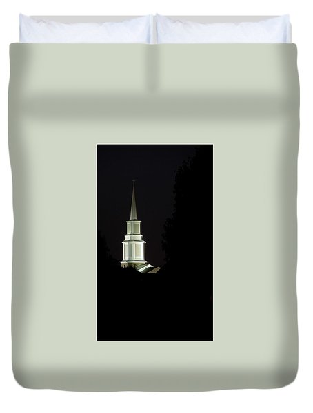 Duvet Cover featuring the photograph Church Steeple At Night by Jerry Sodorff