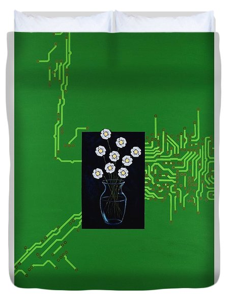 Duvet Cover featuring the painting Circuit Board Bouquet by Mary Scott