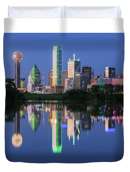 Duvet Cover featuring the photograph City Of Dallas, Texas Reflection by Robert Bellomy
