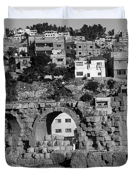 City Of Jerash From The Ruins In Black And White Duvet Cover
