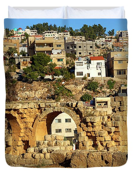 City Of Jerash From The Ruins Duvet Cover