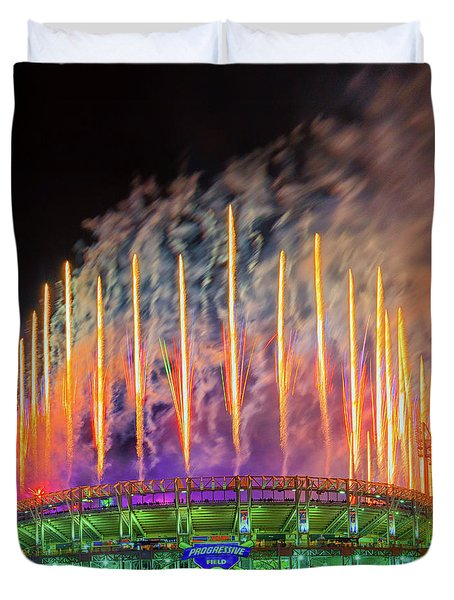 Cleveland Baseball Fireworks Awesome Duvet Cover