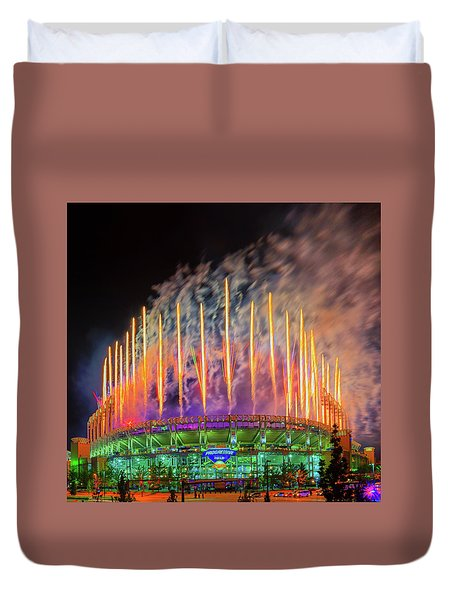 Cleveland Baseball Fireworks Awesome Duvet Cover