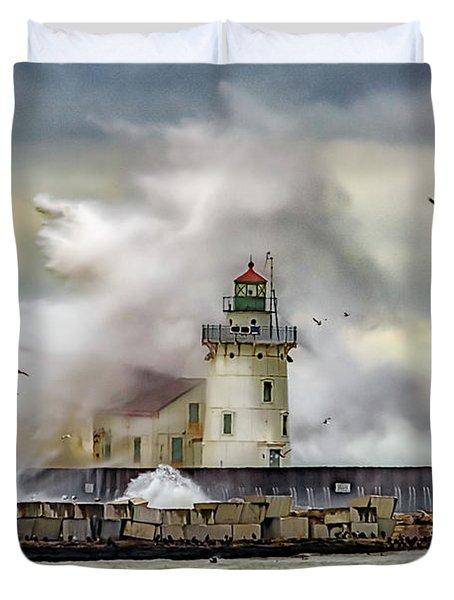 Cleveland Lighthouse Storm  Duvet Cover