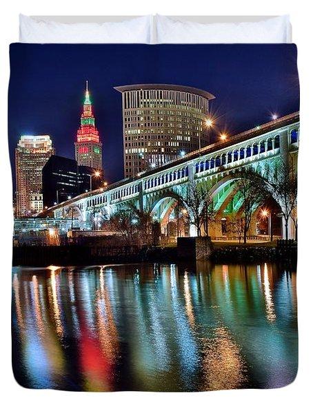 Cleveland Ohio Skyline Reflects Colorfully Duvet Cover
