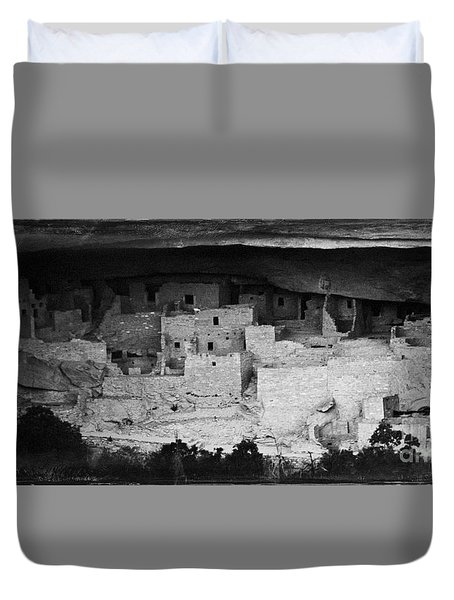 Duvet Cover featuring the photograph Cliff Palace In Black And White by Jon Burch Photography
