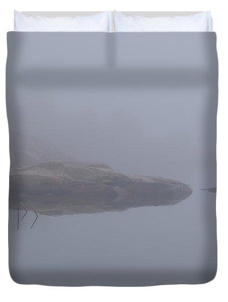 Cliffs In Fog Duvet Cover