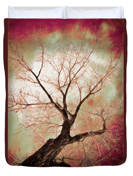 Duvet Cover featuring the photograph Climbing Red Fiery by James BO Insogna