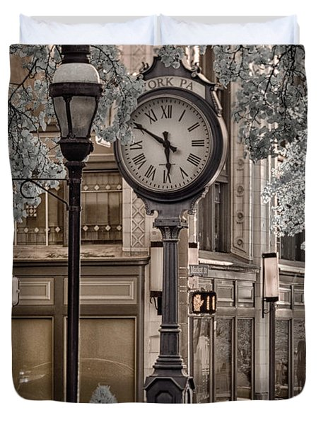Clock On Street Duvet Cover
