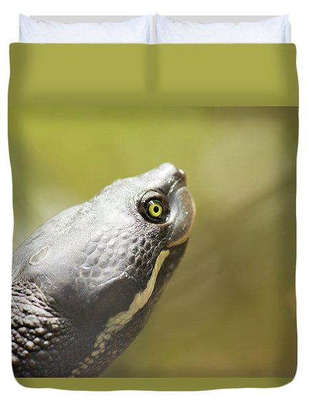 Close Up Of A Turtle. Duvet Cover