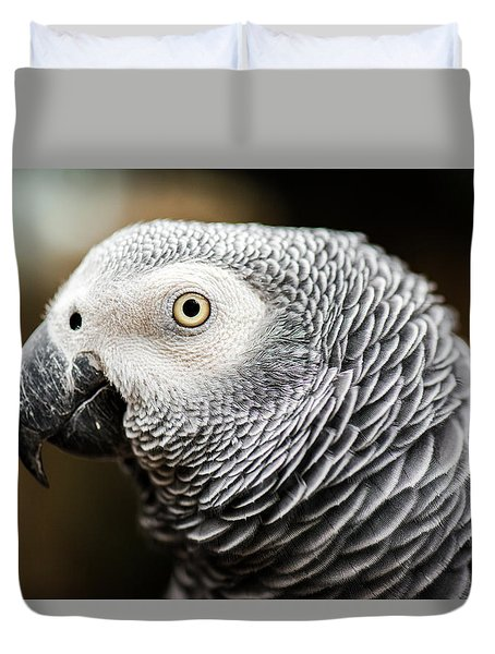Close Up Of An African Grey Parrot Duvet Cover