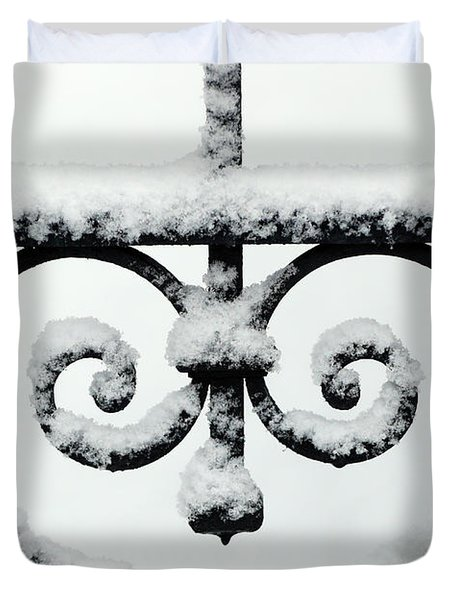 Close Up Of Metal Gate With Snow, Saint Gervais, France Duvet Cover