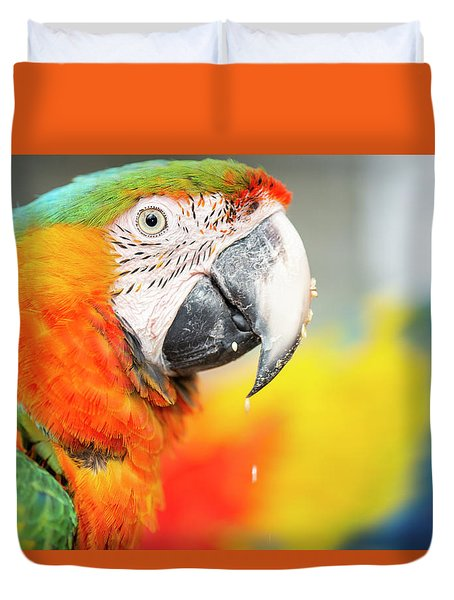Close Up Of The Macaw Bird. Duvet Cover
