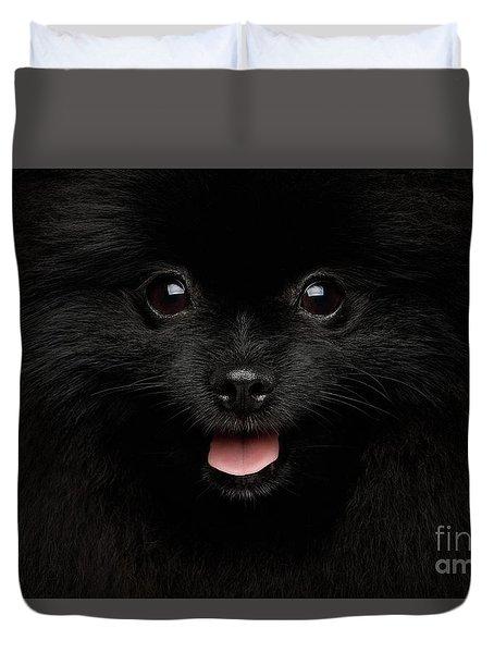 Close-up Portrait Of Happy Pomeranian Spitz Dog Duvet Cover