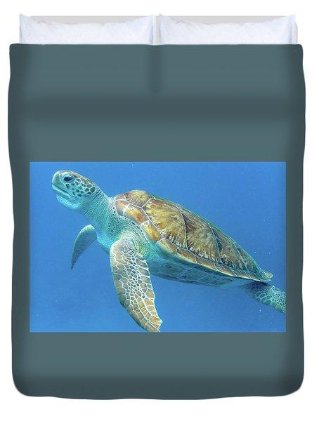 Close Up Sea Turtle Duvet Cover