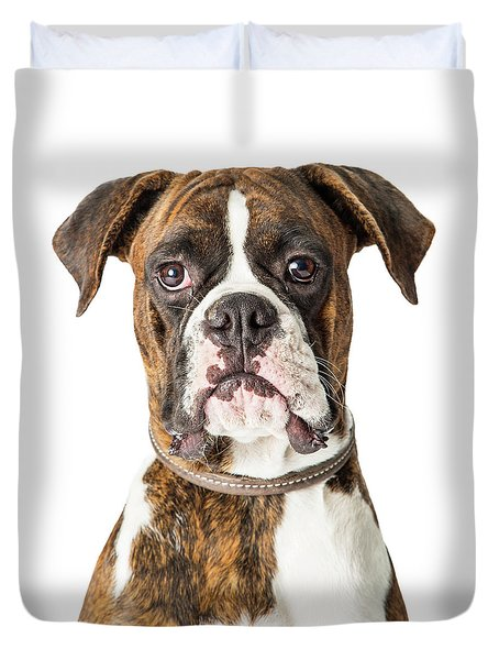 Closeup Boxer Dog Looking Forward Duvet Cover