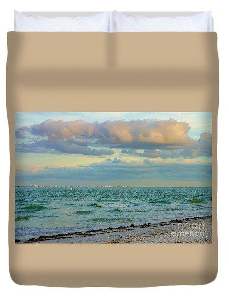Clouds Over Sanibel Beach Duvet Cover