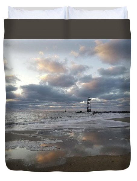 Duvet Cover featuring the photograph Cloud's Reflections At The Inlet by Robert Banach