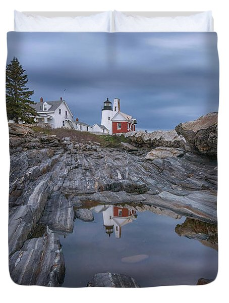 Cloudy Afternoon At Pemaquid Point Duvet Cover