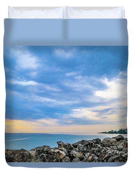 Cloudy City Coastline Duvet Cover