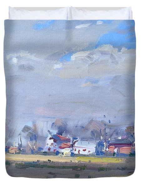 Cloudy Day At The Farm Duvet Cover