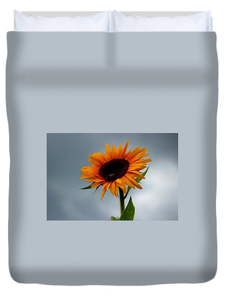 Duvet Cover featuring the photograph Cloudy Sunflower by Candice Trimble