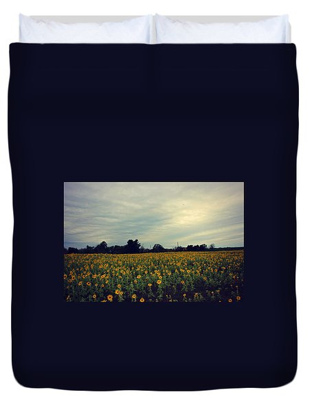 Duvet Cover featuring the photograph Cloudy Sunflowers by Candice Trimble
