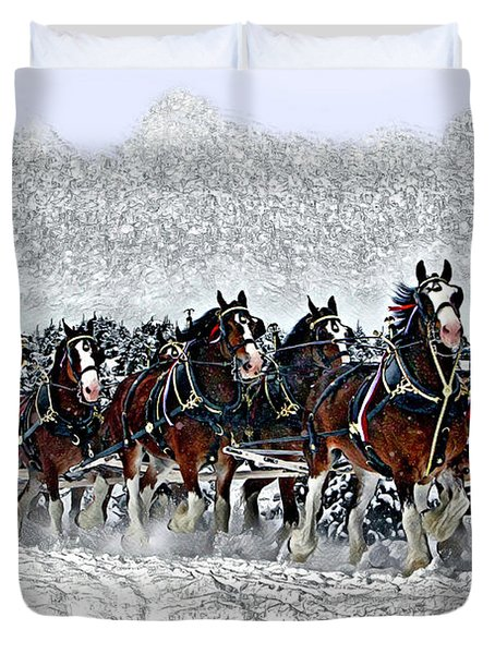 Clydesdales Hitch In Snow Duvet Cover