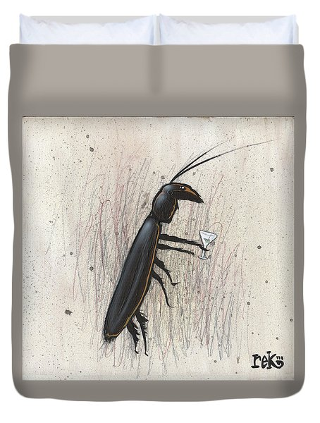 Cockroach With Martini Duvet Cover