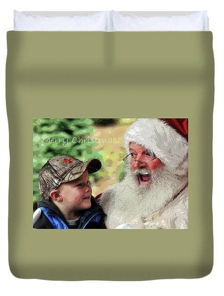 Duvet Cover featuring the photograph Cody Santa Greeting by Jerry Sodorff