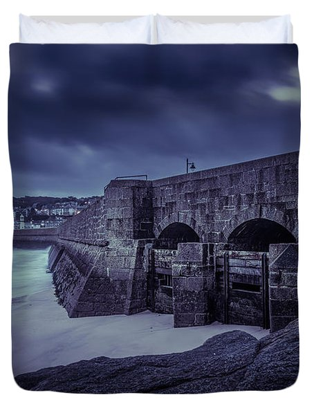 Cold Mood On The Pier Duvet Cover