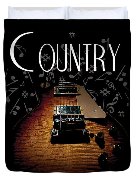 Color Country Music Guitar Notes Duvet Cover