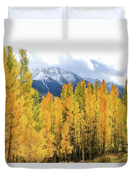 Colorado Aspens And Mountains 1 Duvet Cover