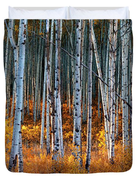 Duvet Cover featuring the digital art Colorado Autumn Wonder Panorama by OLena Art Brand