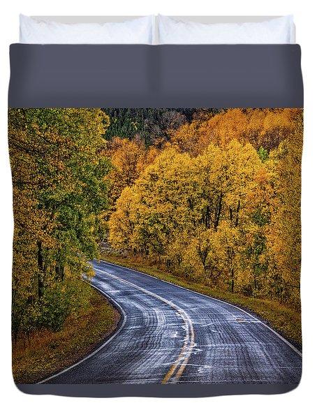 Colorado Fall Country Road Duvet Cover