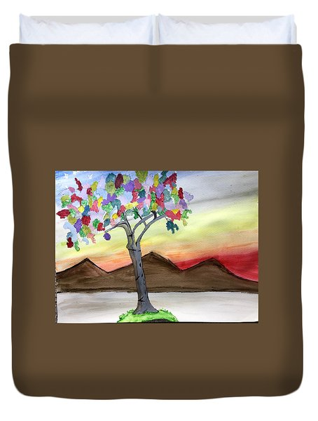 Colored Tree Duvet Cover